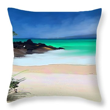 Throw Pillow featuring the digital art Tropical Charm by Anthony Fishburne