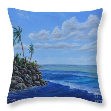 Throw Pillow featuring the painting Tropical Day by Mary Scott