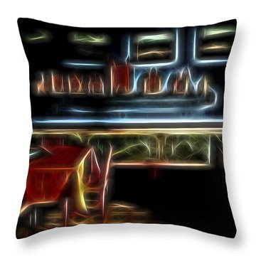 Throw Pillow featuring the digital art Tropical Dining Room 1 by William Horden