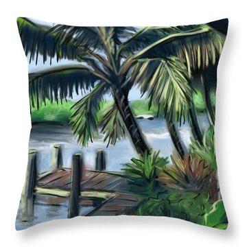 Tropical Dock Duvet Cover Throw Pillow