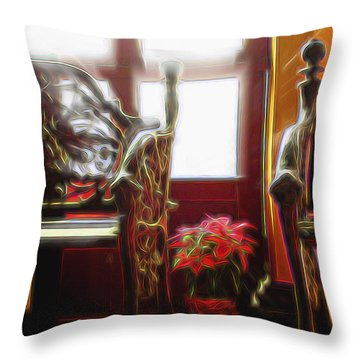 Throw Pillow featuring the digital art Tropical Drawing Room 1 by William Horden