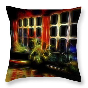 Throw Pillow featuring the digital art Tropical Drawing Room 2 by William Horden