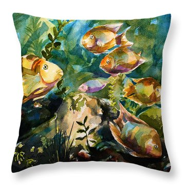 Tropical Fish 3 Throw Pillow by Julianne Felton
