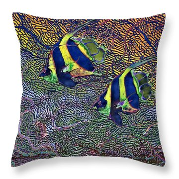 Coral Reef Tropical Fish Colorful Water Art Throw Pillow