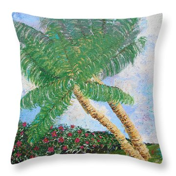 Throw Pillow featuring the painting Tropical Flair by Margaret Bobb