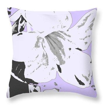 Tropical Floral Violet Black Throw Pillow