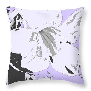 Tropical Floral Violet Black Throw Pillow