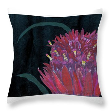 Throw Pillow featuring the mixed media Tropical Flower by C Sitton