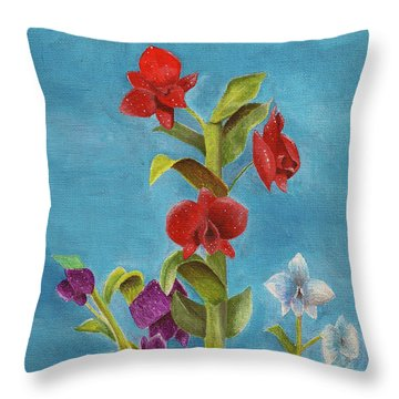 Throw Pillow featuring the painting Tropical Flower by Thomas J Herring