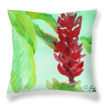 Throw Pillow featuring the painting Tropical Flowers 2 by C Sitton