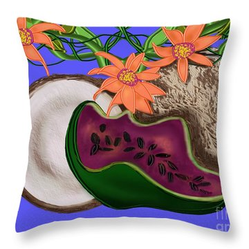 Tropical Fruit Throw Pillow by Christine Fournier