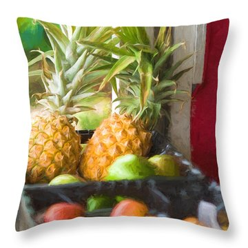 Tropical Fruitstand Throw Pillow