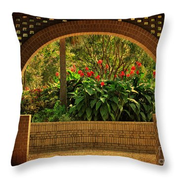 Throw Pillow featuring the photograph Tropical Garden Arch by Kathy Baccari