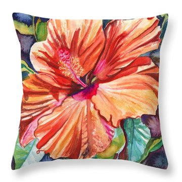 Tropical Hibiscus 5 Throw Pillow