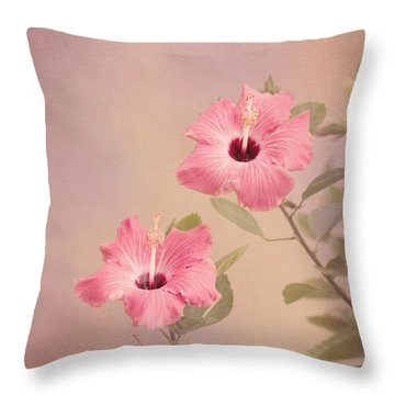 Tropical Hibiscus Throw Pillow by Kim Hojnacki