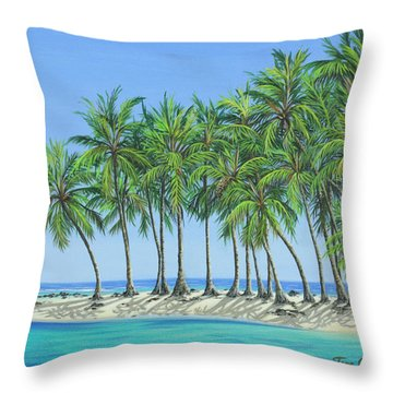 Throw Pillow featuring the painting Tropical Lagoon by Jane Girardot
