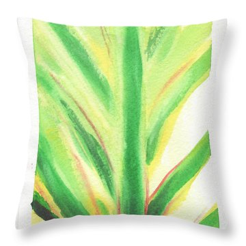 Throw Pillow featuring the painting Tropical Leaf by C Sitton