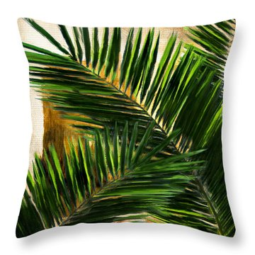 Throw Pillow featuring the digital art Tropical Leaves by Lourry Legarde