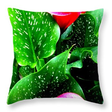 Tropical Leaves Throw Pillow by Marianne Dow