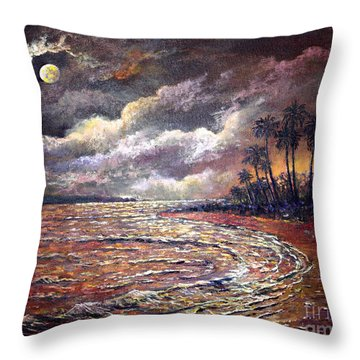Throw Pillow featuring the painting Tropical Moon by Lou Ann Bagnall