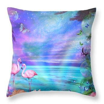 Tropical Moonlight Flamingos Throw Pillow by Alixandra Mullins