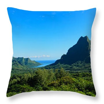 Tropical Moorea Panorama Throw Pillow