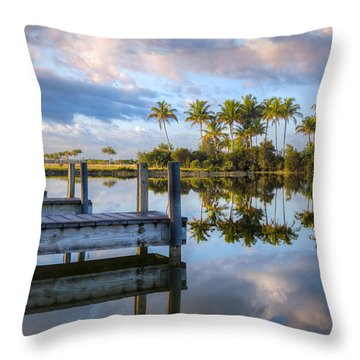 Tropical Morning Throw Pillow by Debra and Dave Vanderlaan