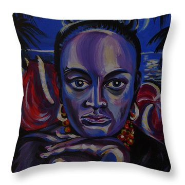 Throw Pillow featuring the painting Tropical Night by Anna  Duyunova