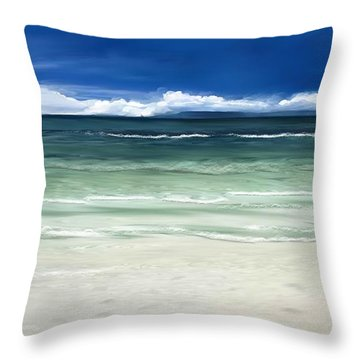 Throw Pillow featuring the digital art Tropical Ocean by Anthony Fishburne