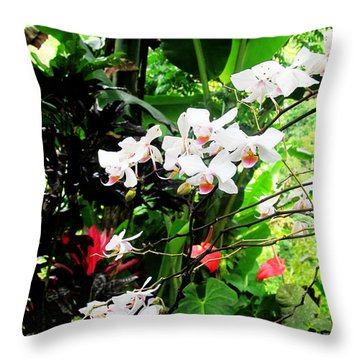 Tropical Orchids Throw Pillow by Tina M Wenger