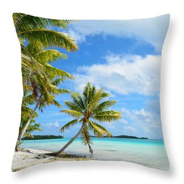 Tropical Beach With Hanging Palm Trees In The Pacific Throw Pillow