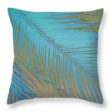 Tropical Palm In Blue Throw Pillow