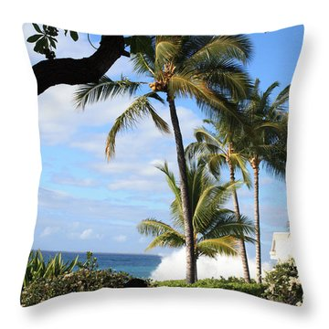 Throw Pillow featuring the photograph Tropical Paradise by Karen Nicholson