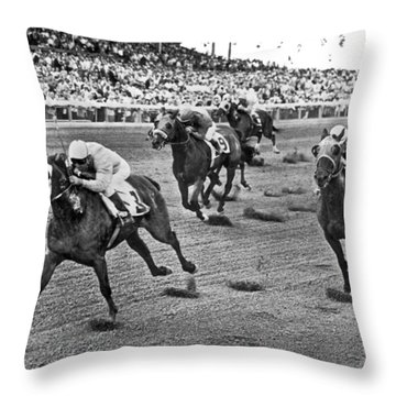 Tropical Park Horse Race Throw Pillow by Underwood Archives