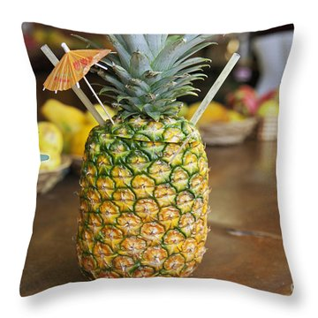 Tropical Pineapple Drink Throw Pillow by Brandon Tabiolo