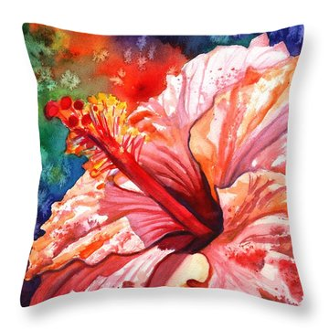 Tropical Pink Hibiscus Throw Pillow