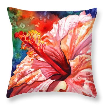 Tropical Pink Hibiscus Throw Pillow