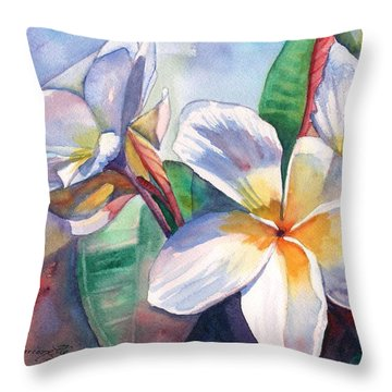 Tropical Plumeria Flowers Throw Pillow