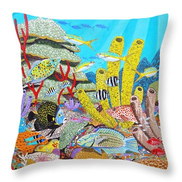Tropical Reef Throw Pillow by Carey Chen