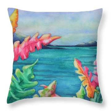 Tropical Scene Throw Pillow