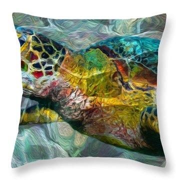 Tropical Sea Turtle Throw Pillow