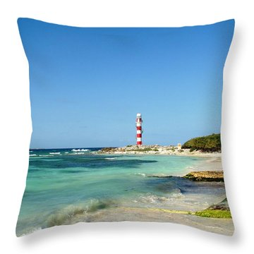 Tropical Seascape With Lighthouse Throw Pillow