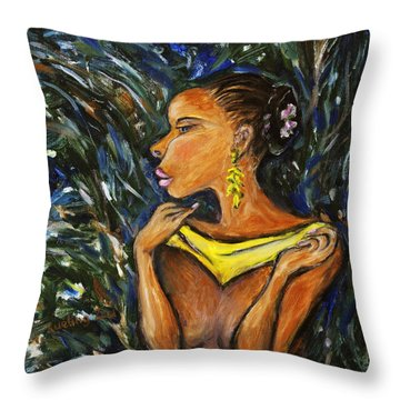 Throw Pillow featuring the painting Tropical Shower by Xueling Zou