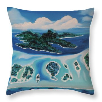 Throw Pillow featuring the painting Tropical Skies by Dianna Lewis