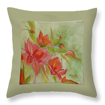 Throw Pillow featuring the painting Tropical Splash by Judith Rhue