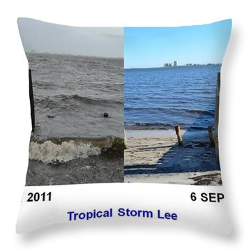 Tropical Storm Lee Difference A Day Makes Throw Pillow by Jeff at JSJ Photography