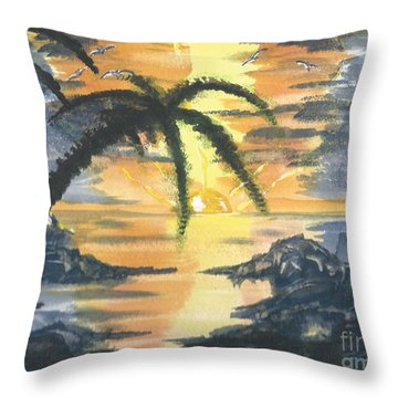 Tropical Sun Throw Pillow