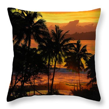 Tropical Sunset In Greens Throw Pillow