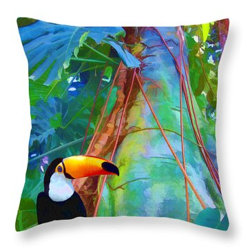 Tropical Toucan Throw Pillow by Kathleen Holley