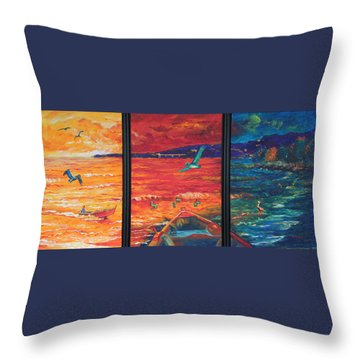 Tropical Trance Triptych Throw Pillow by Estela Robles Galiano